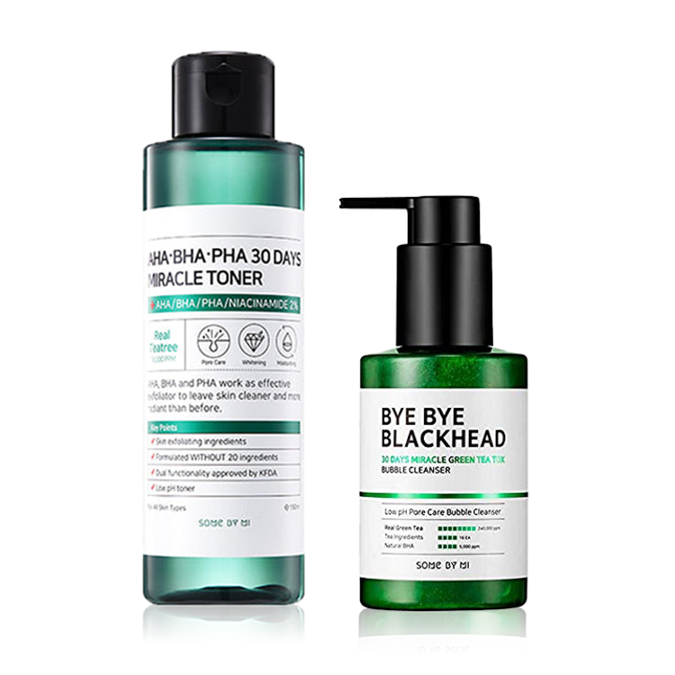 Picture of SOME BY MI Bye Bye Blackhead Bubble Cleanser  + AHA BHA PHA 30 Days Miracle Toner Duo